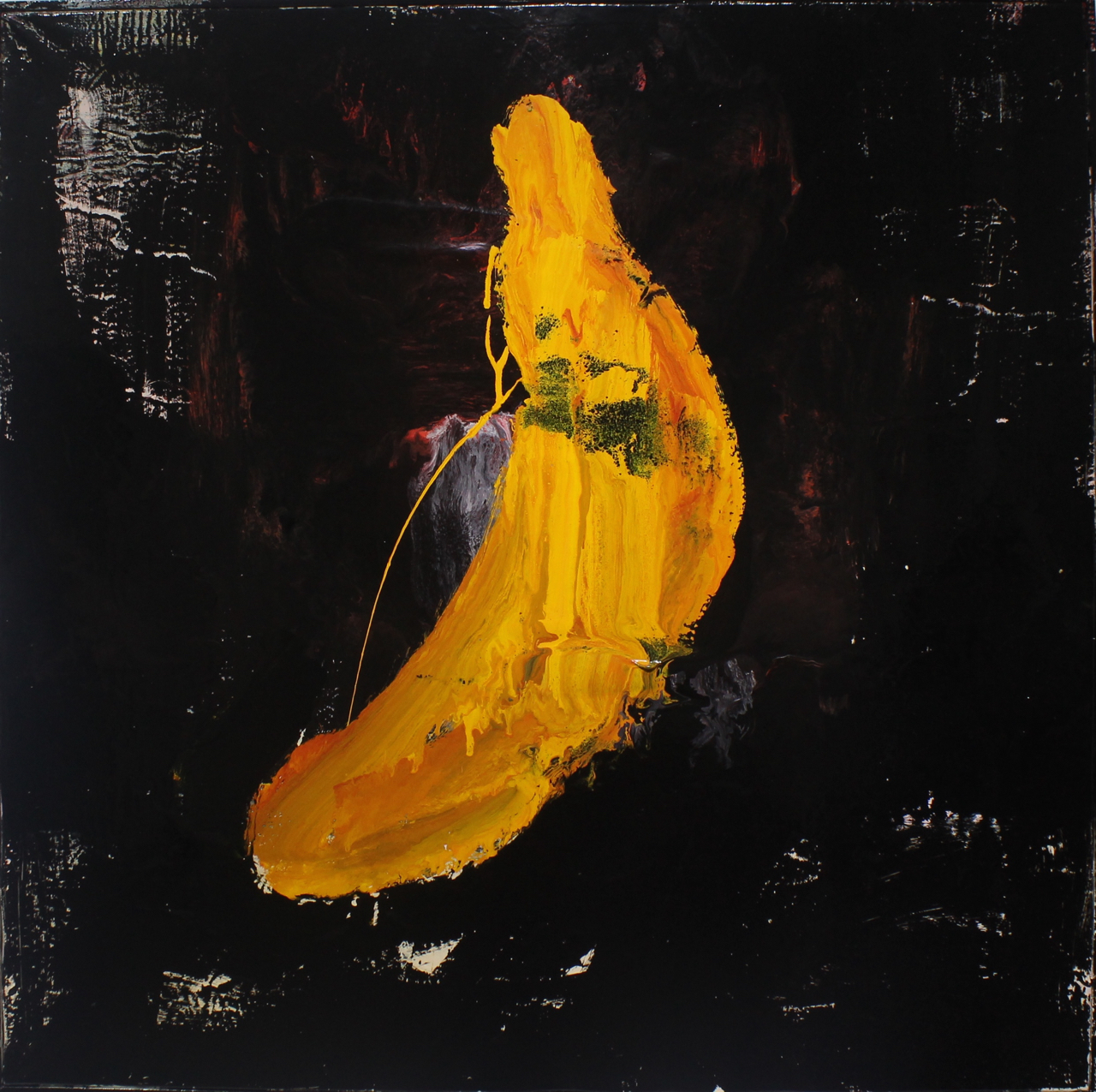 The banana, 2014, enamel paint on canvas, 122 x 122 cm