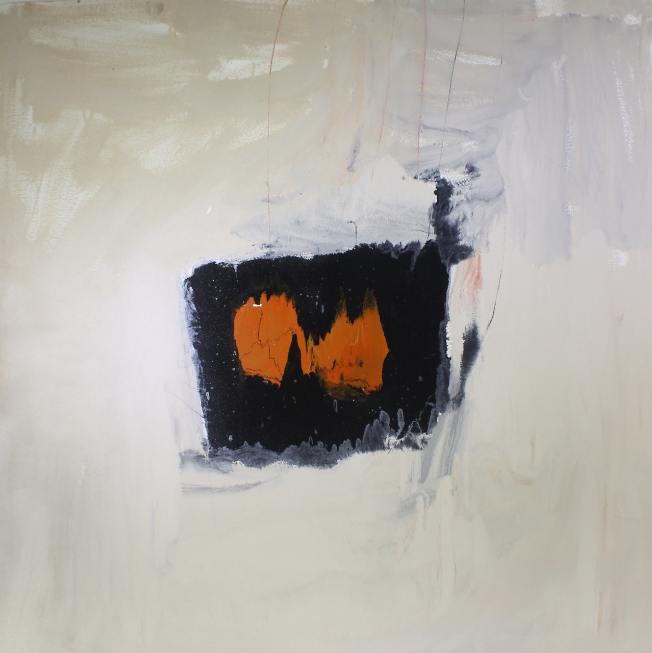 Two oranges II, 2014, enamel paint on canvas, 152 x 152 cm