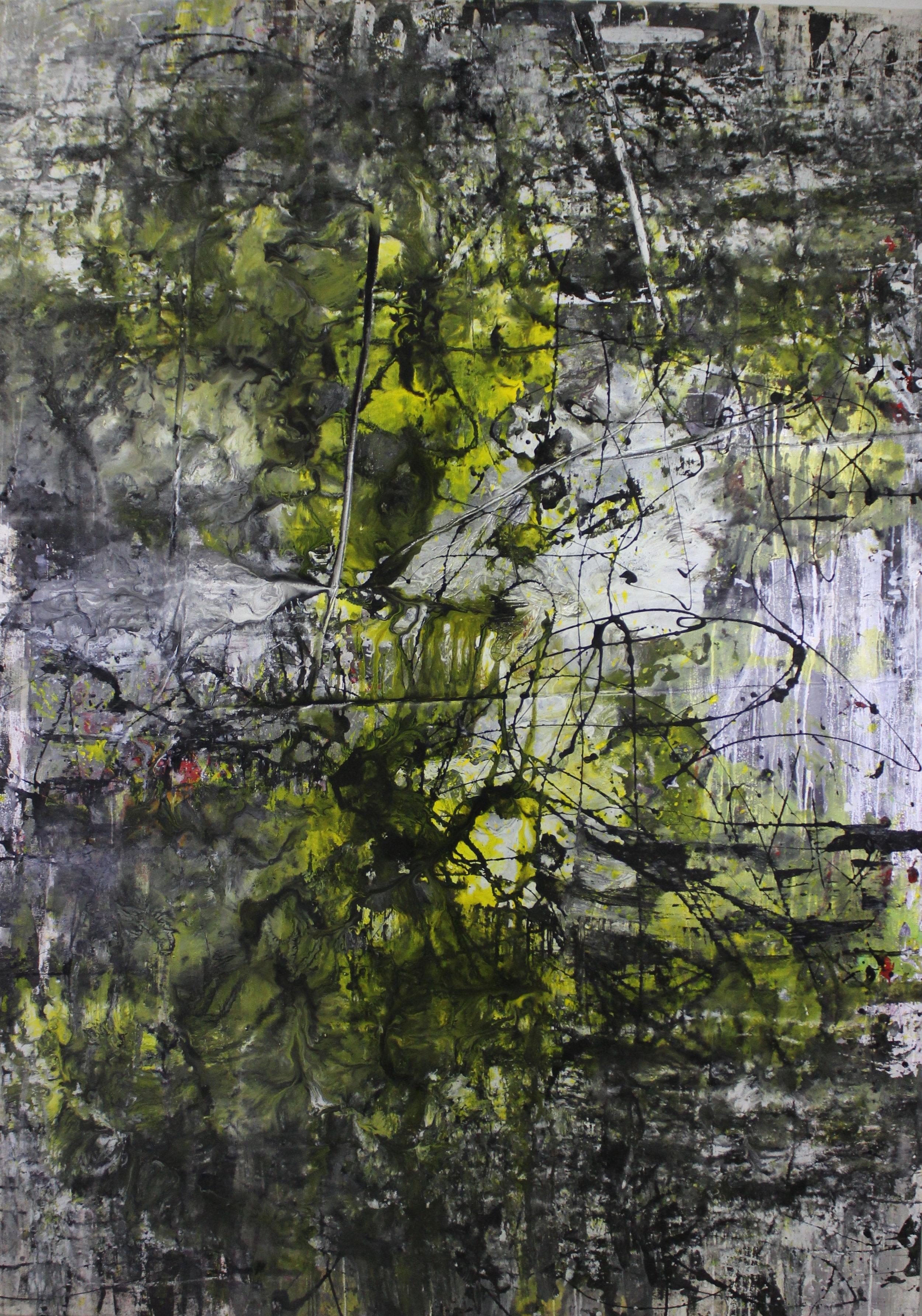 Untitled, 2013, enamel paint on canvas, 122 x 183 cm