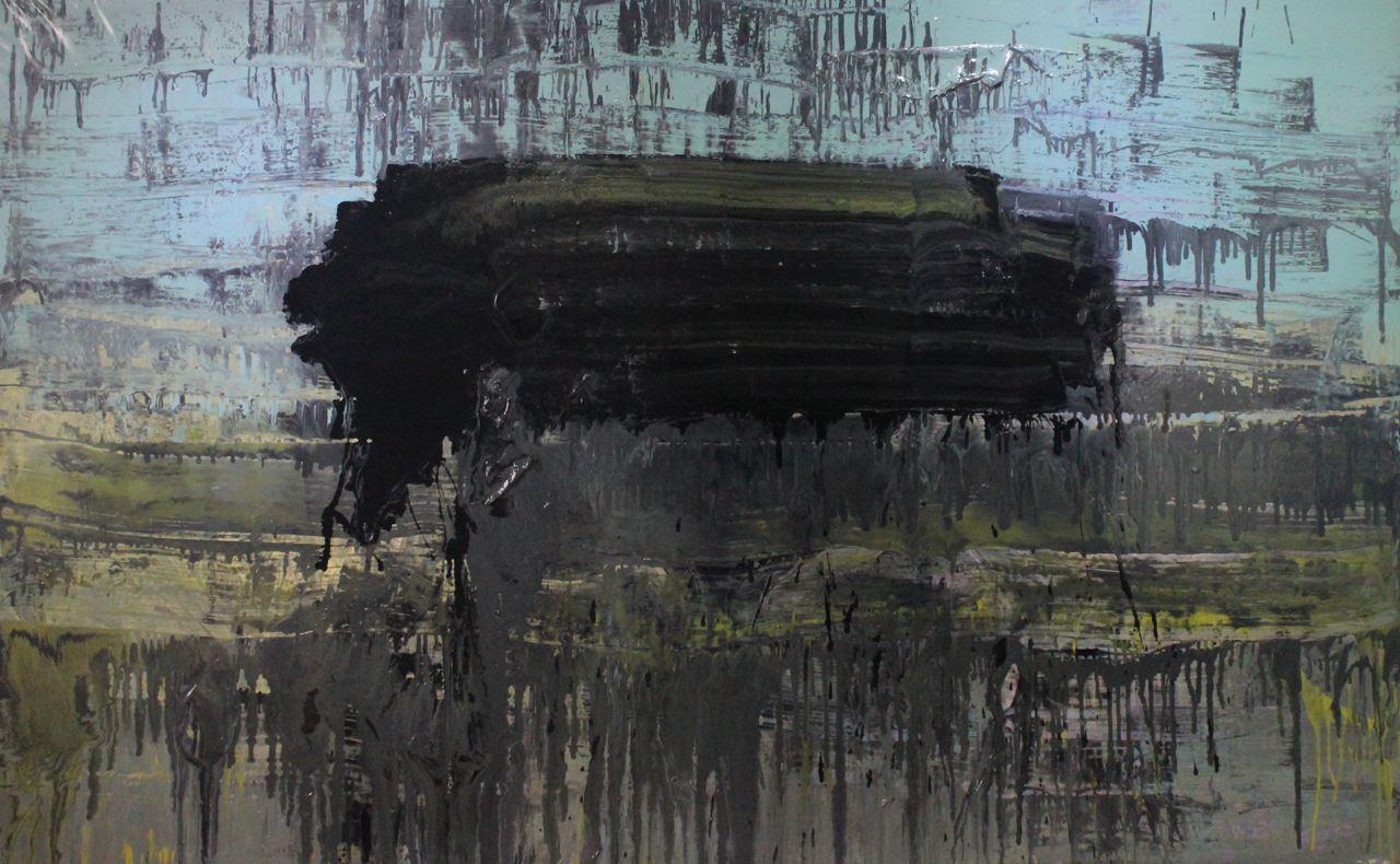 Untitled, 2014, enamel paint on canvas, 152 x 224 cm