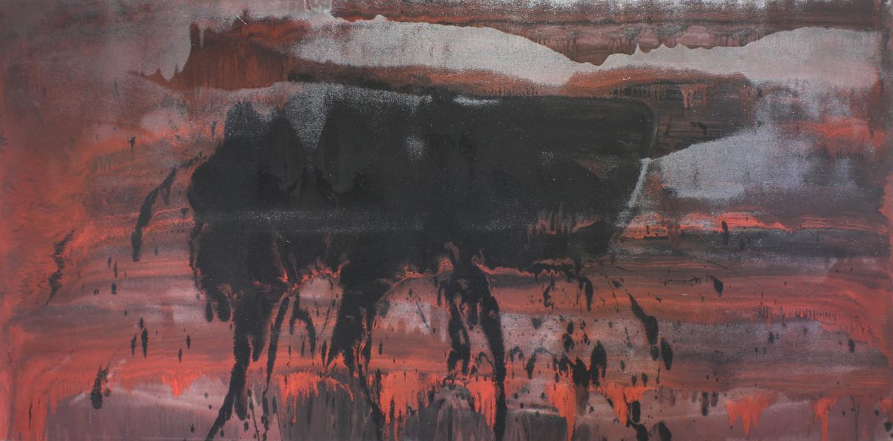 Untitled, 2014, enamel paint on canvas, 122 x 243 cm