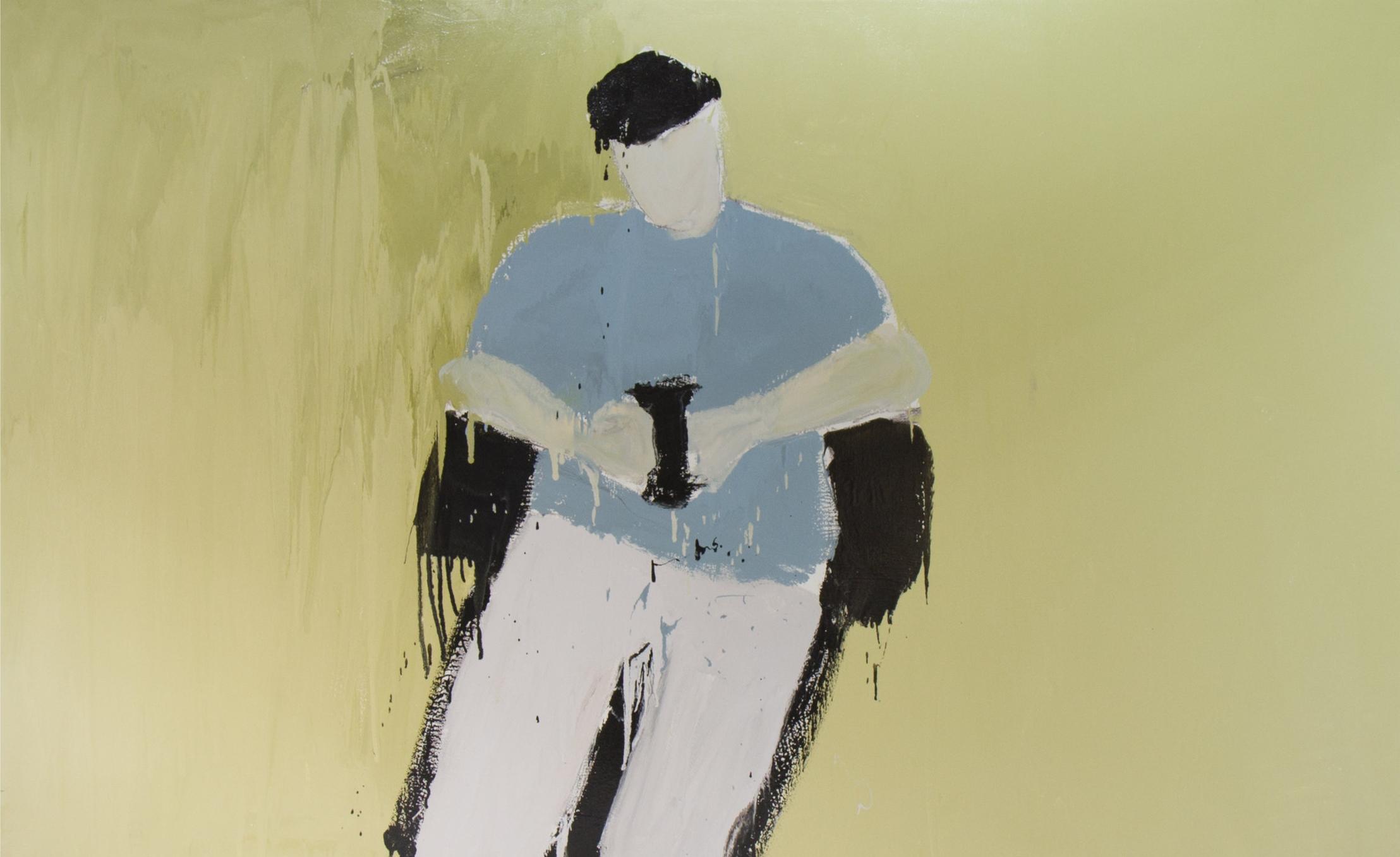 Aziz II, 2016, enamel paint on canvas, 152 x 244 cm