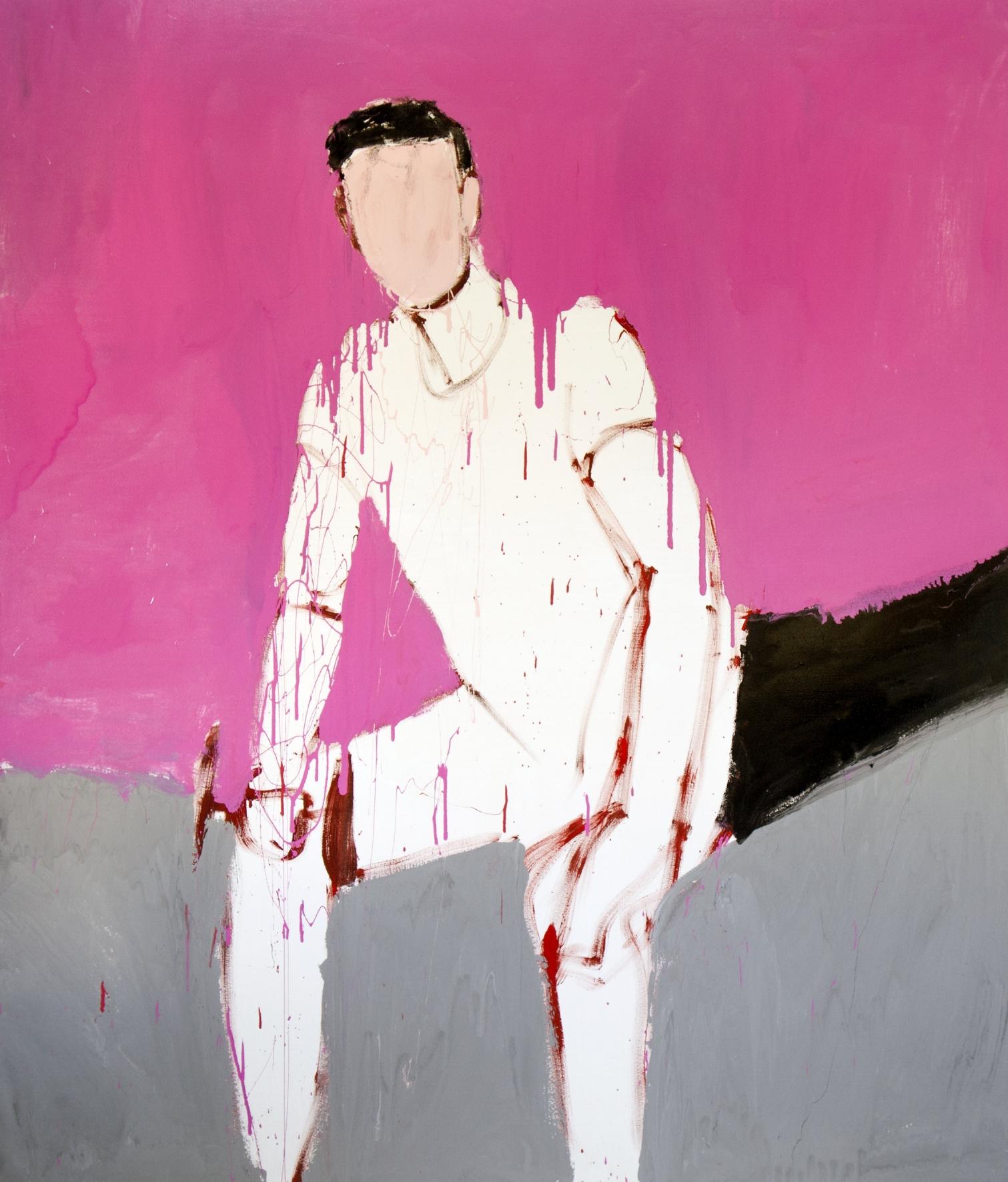 The Trainer, 2017, enamel paint on canvas, 198 x 168 cm