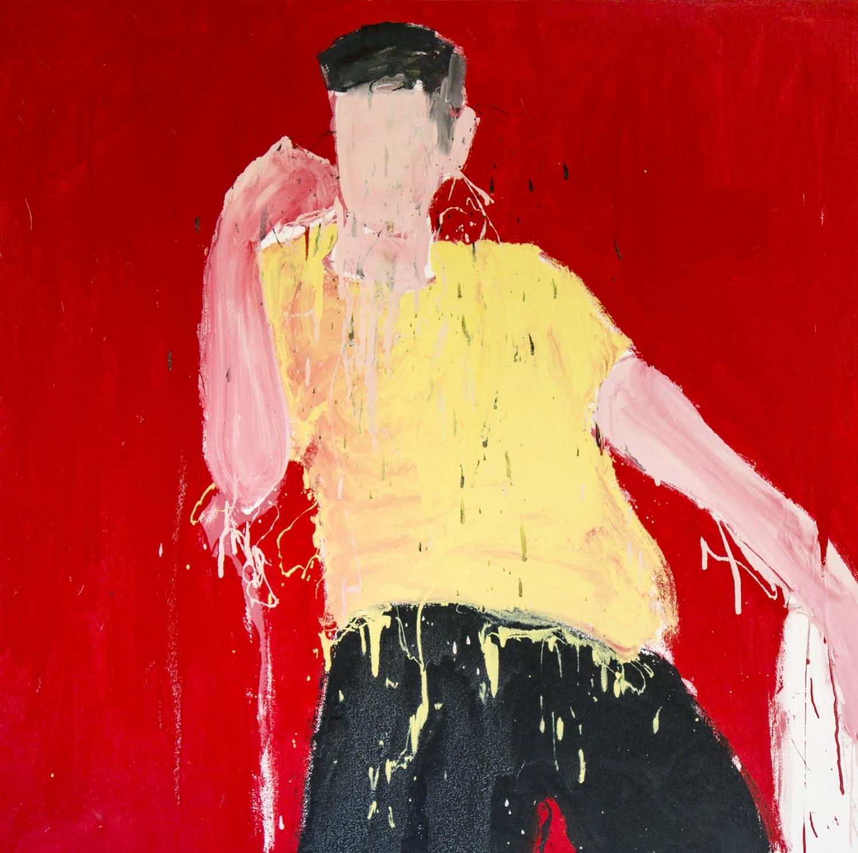 Awais I, 2017, enamel paint on canvas, 152 x 152 cm