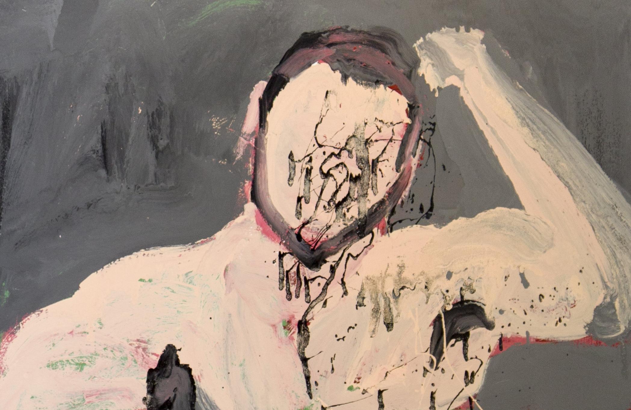 Insta Love: Obaid being Obaid, 2017, enamel paint on Canvas, 61 x 91 cm
