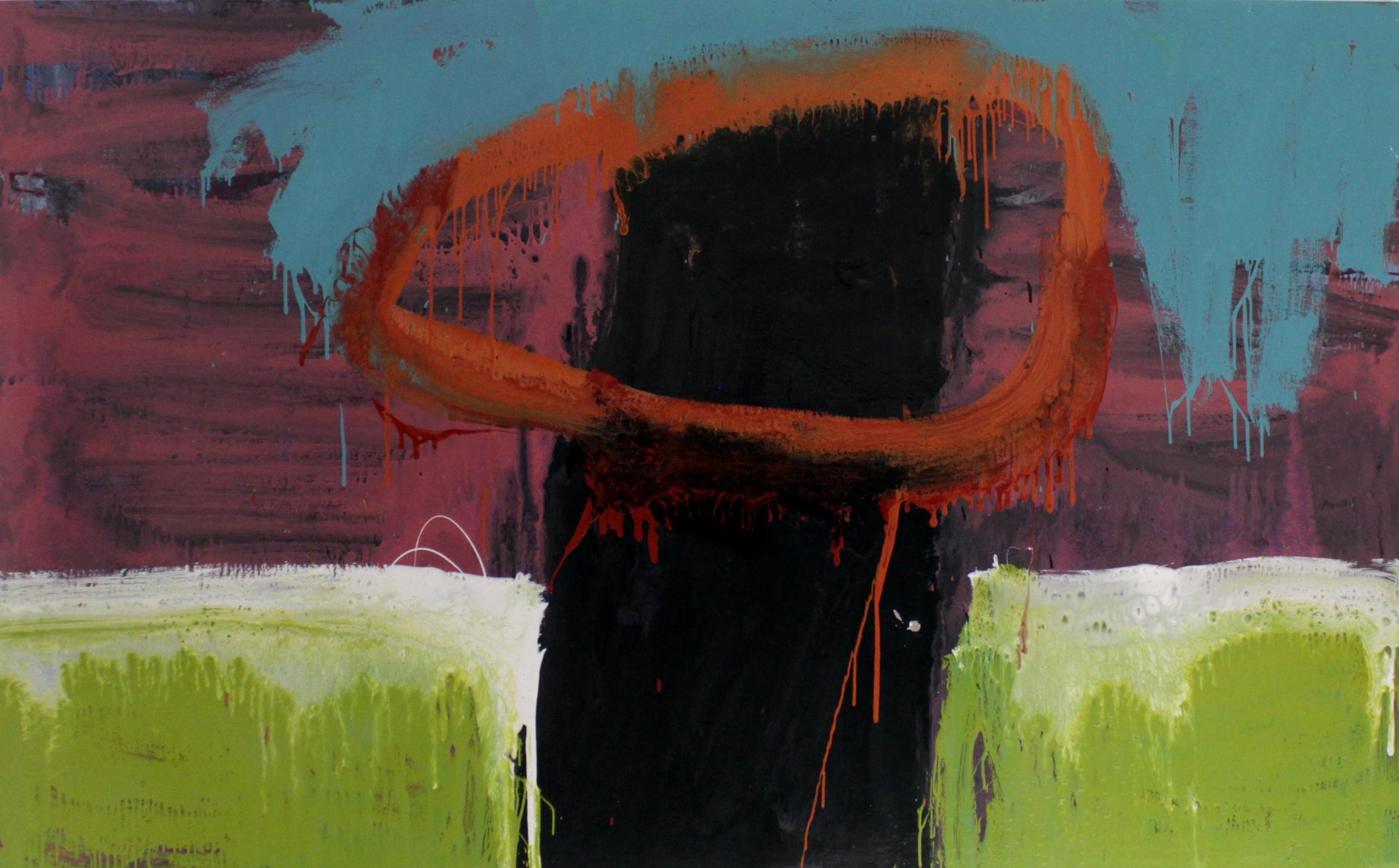 Untitled, 2016, enamel paint on canvas, 152 x 244 cm