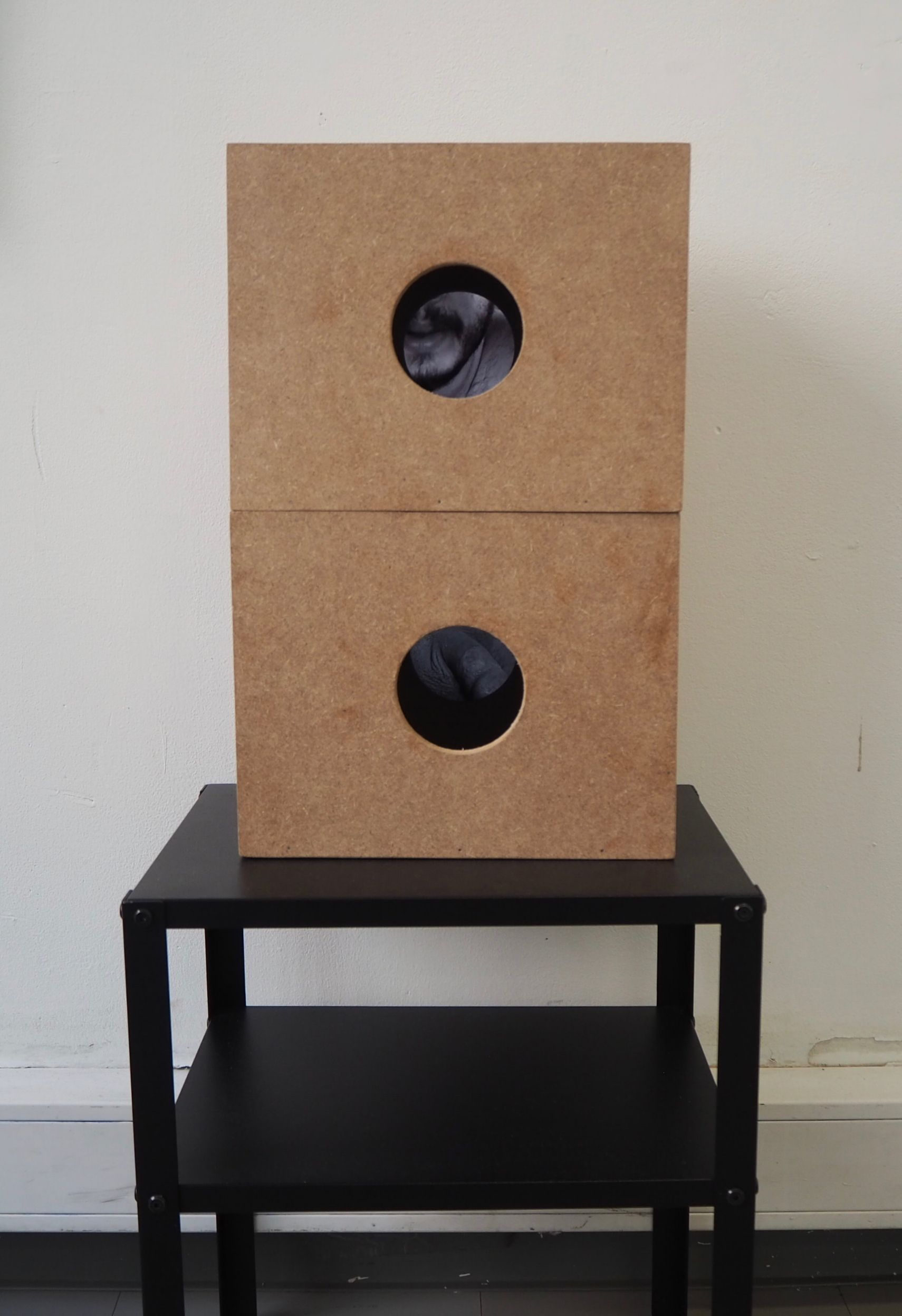 Glory Holes, 2018, video and sound pieces in MDF boxes, on a black metal pedestal, 21 x 27 x 20.5 cm