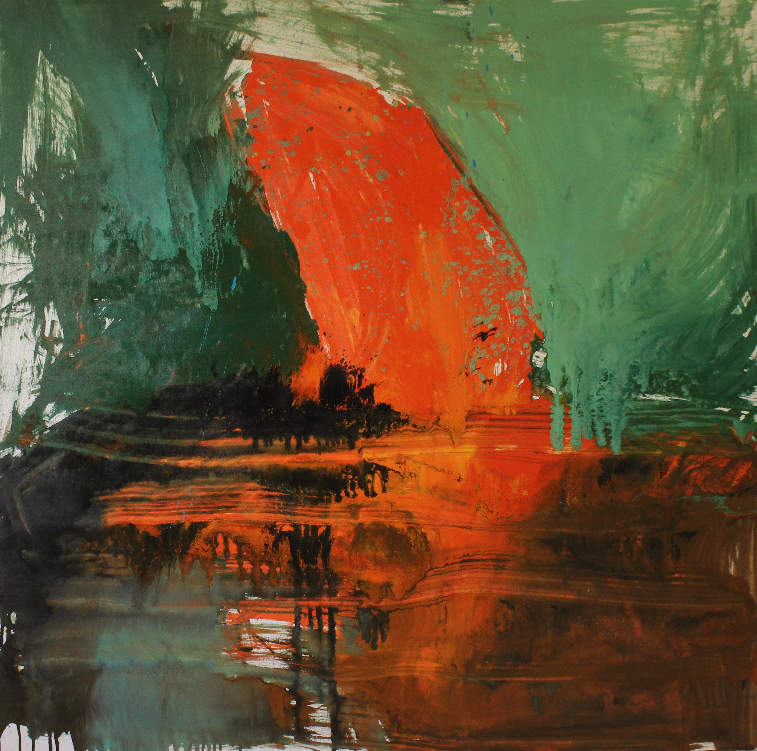 Untitled, 2014, enamel paint on canvas, 152 x 152 cm