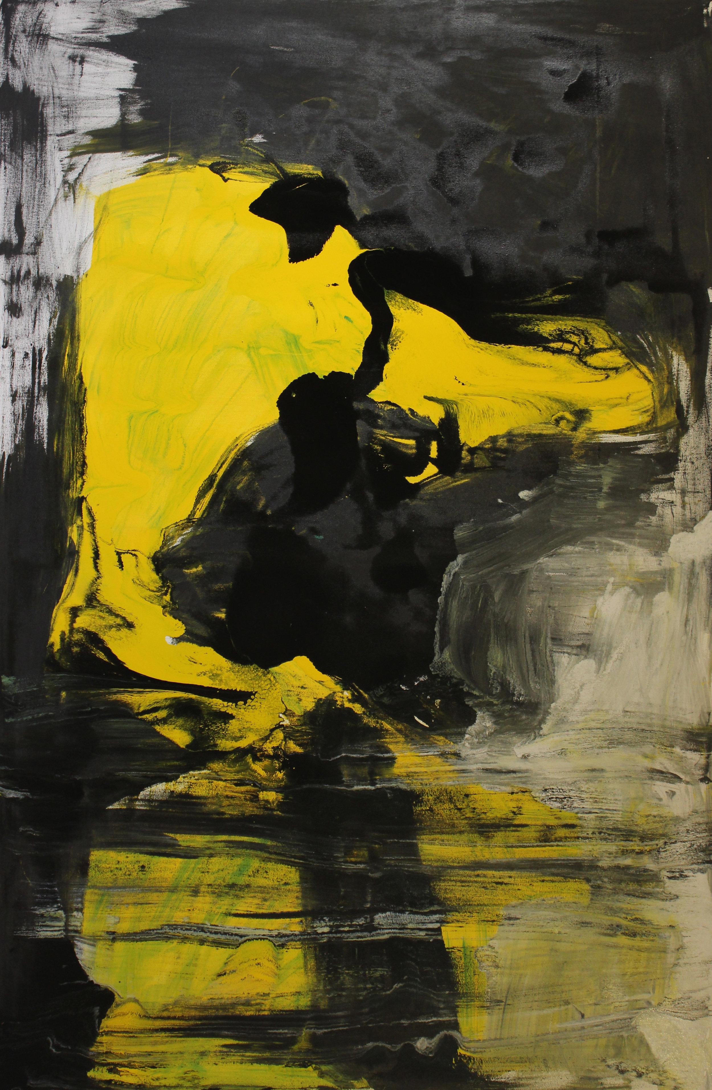 Untitled, 2014, enamel paint on canvas, 122 x 183 cm