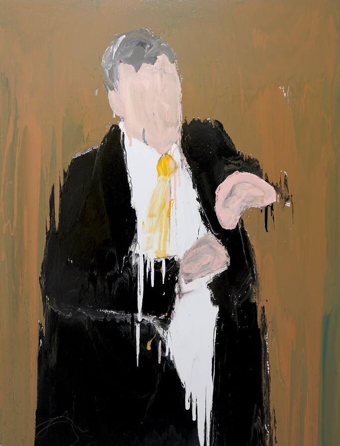 Mark I, 2016, enamel paint on canvas, 138 x 168 cm