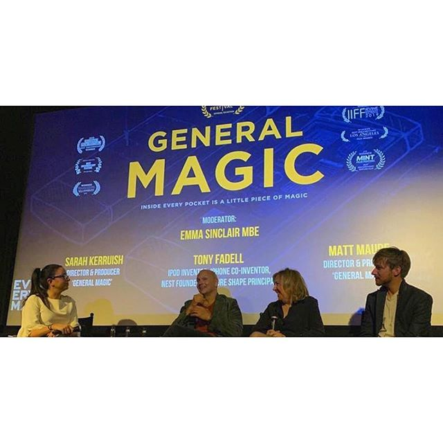 Last night General Magic made a triumphant return to the big screen @everymancinema London follow by a Q&A session with directors @mattmaude @sarahkerruish & former magician @tfadell . The film is now available to buy & download from multiple platforms including @itunes @amazon @vimeo , visit our website for further details. . . . #generalmagicmovie #tech #film #cellphone #filmdocumentary #mobiletechnology #apple #iphone #andriod #london #femaledirector
