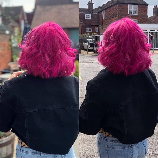 💞💓Pink isn't just a colour, it's an attitude!💞💓 Loving this vibrant on trend pink done today by Simon. #vegansalon #follymarket #petersfield #evohairproducts #pureology #animalcrueltyfree #purohair