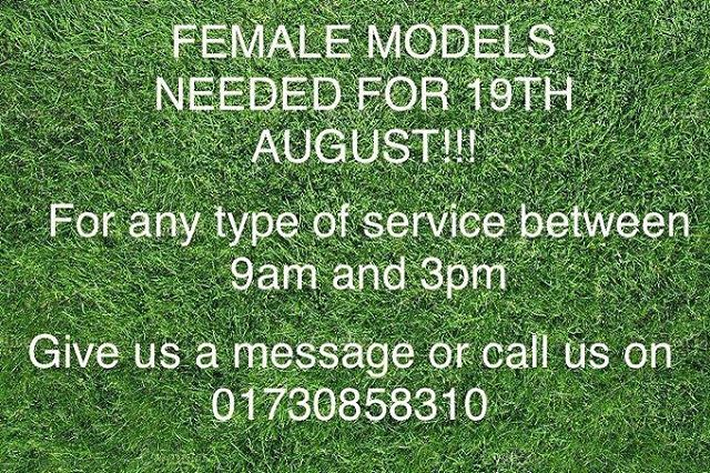 MODEL CALL!!! - - - - - - - - - -  Chloe will be needing models this Monday for training.  Please give us a message or call up to book in with apprentice Chloe😊