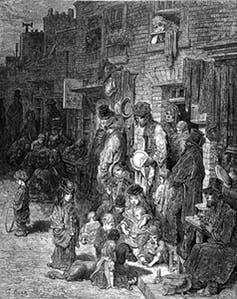 Slums in Wentworth Street, Whitechapel. Wellcome Images/Wikimedia Commons