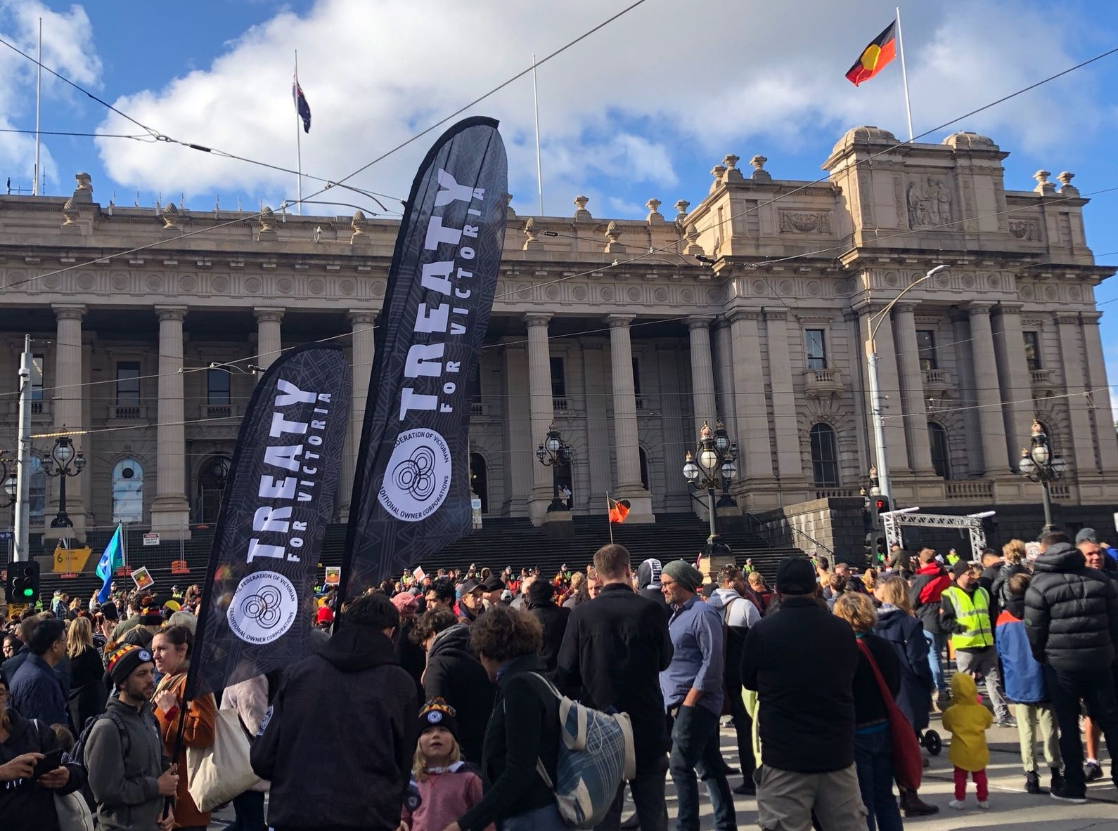 Treaty flags flying high at the Victorian Naidoc March Pic by Alex Sheehy