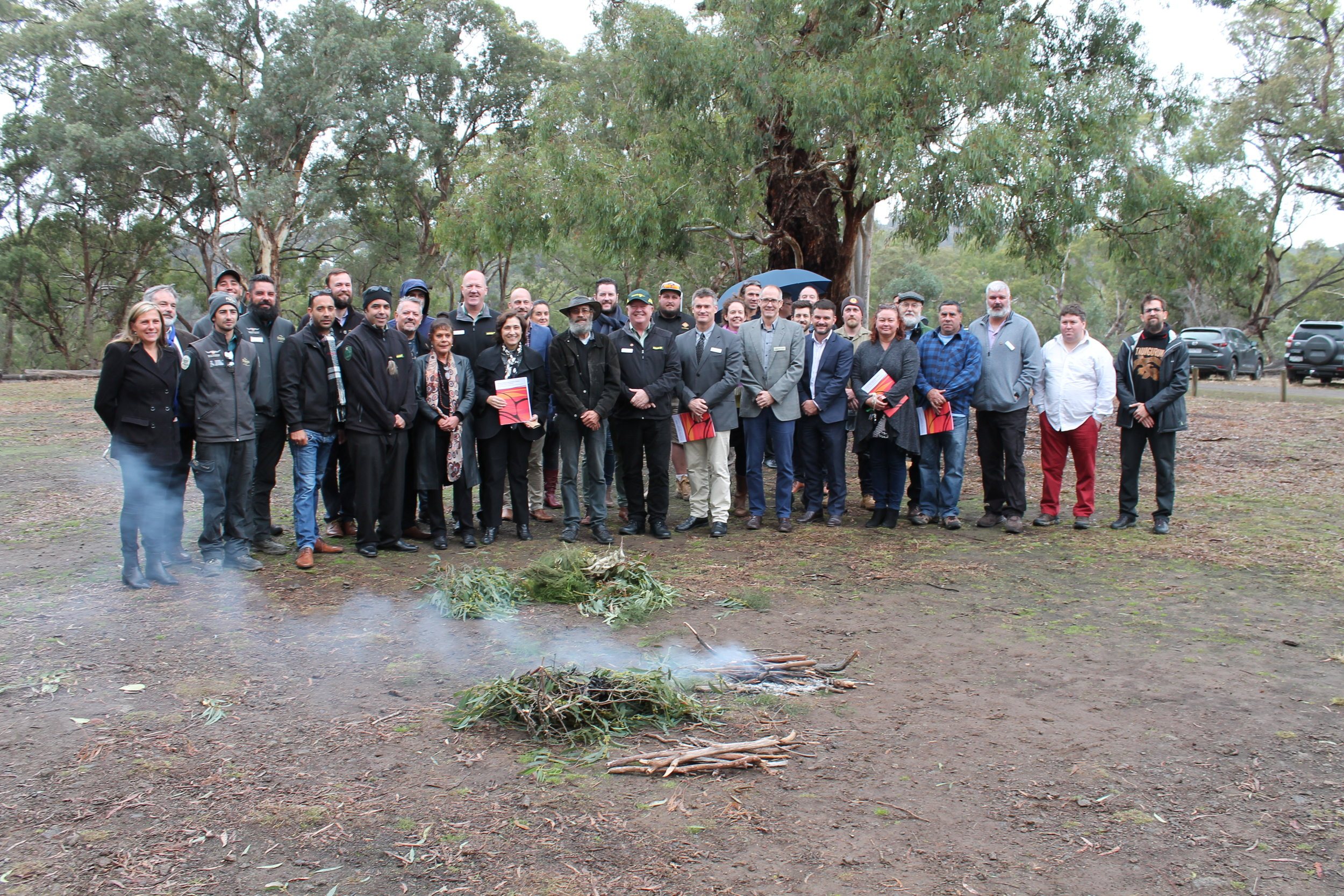Photo:  The Victorian Traditional Owner Cultural Fire Strategy launch at Nioka Bush Camp on Friday May 10, 2019.