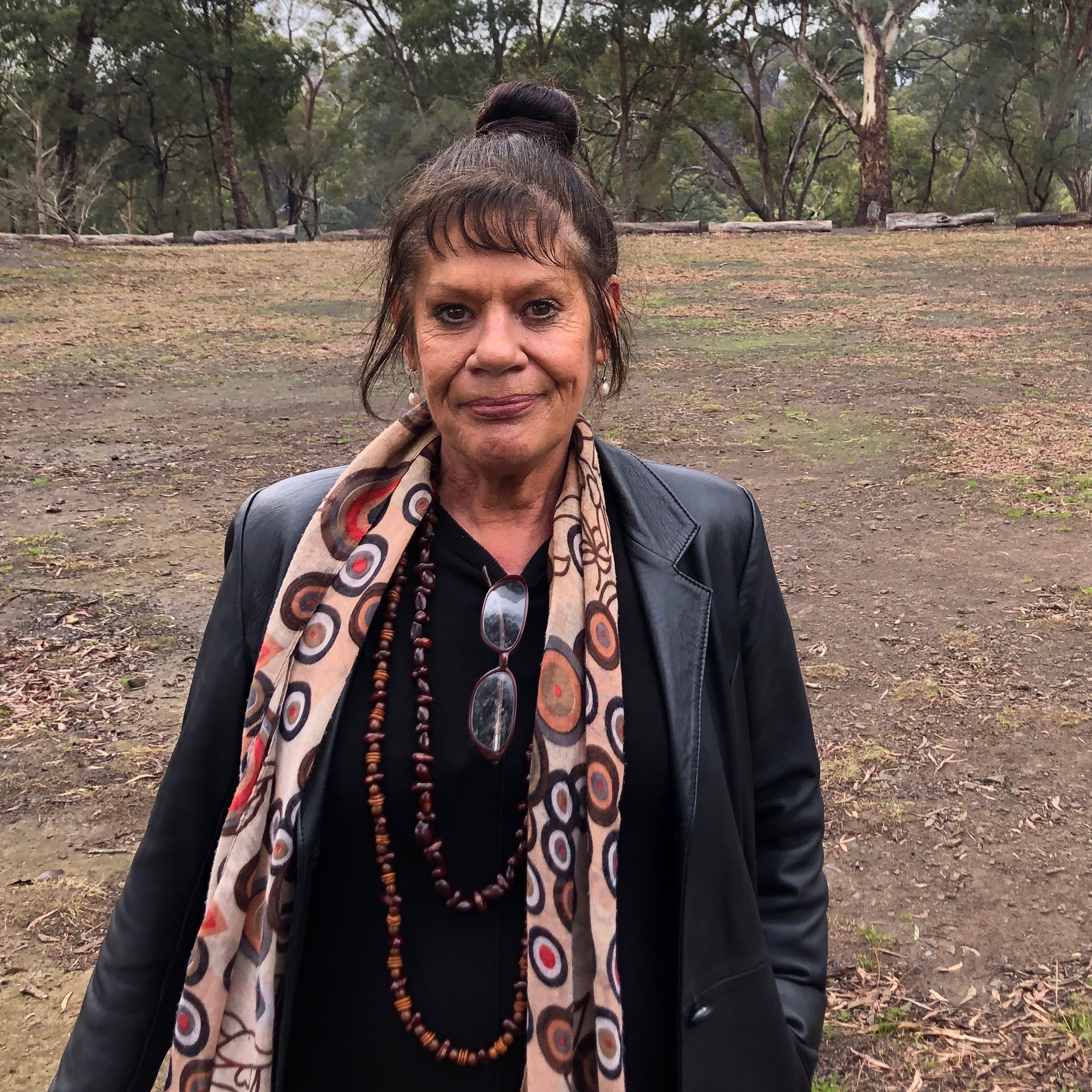 Proud Dja Dja Wurrung and Yorta Yorta woman and NRM Committee Chair Wendy Berick at the launch of the fire strategy at Nioka Bush Camp.