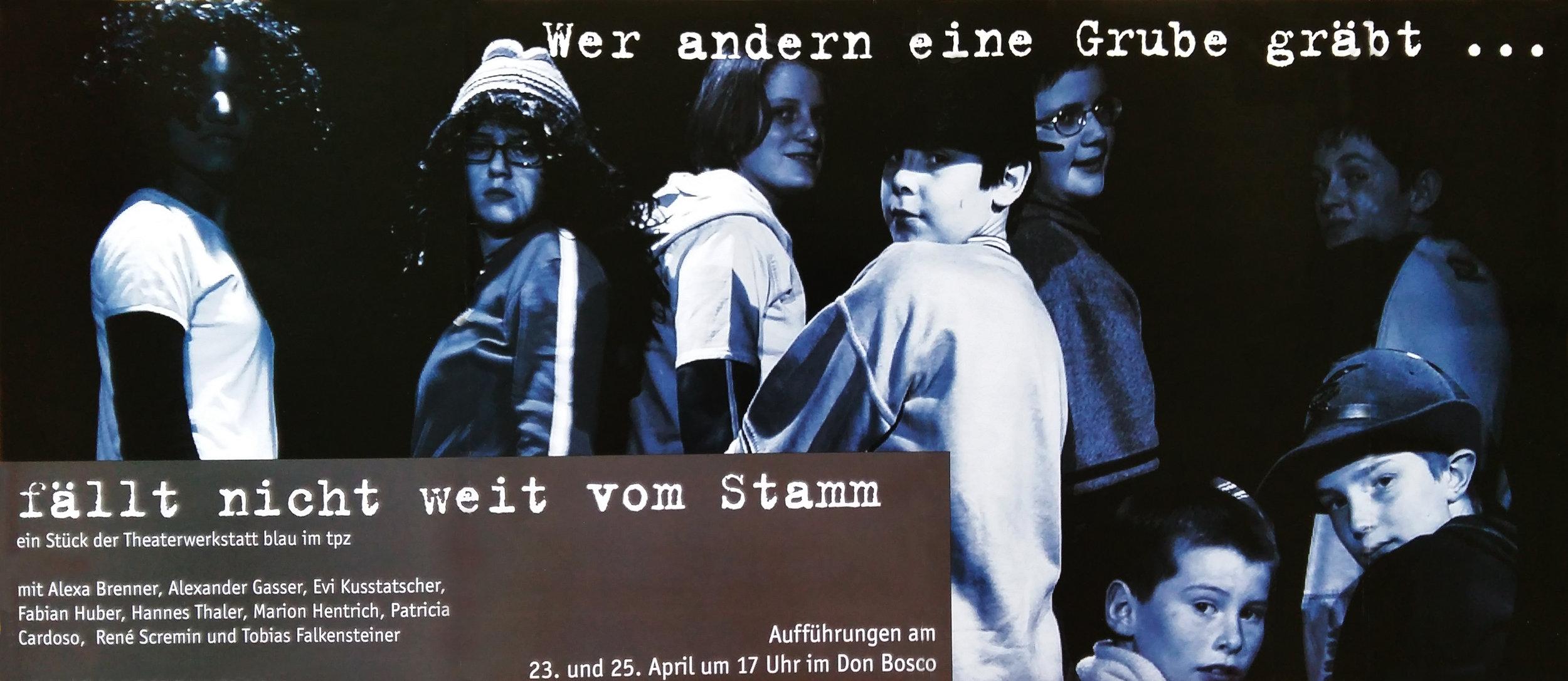 2004 blau.04 Wer anderen eine Grube gräbt Plakat.jpg