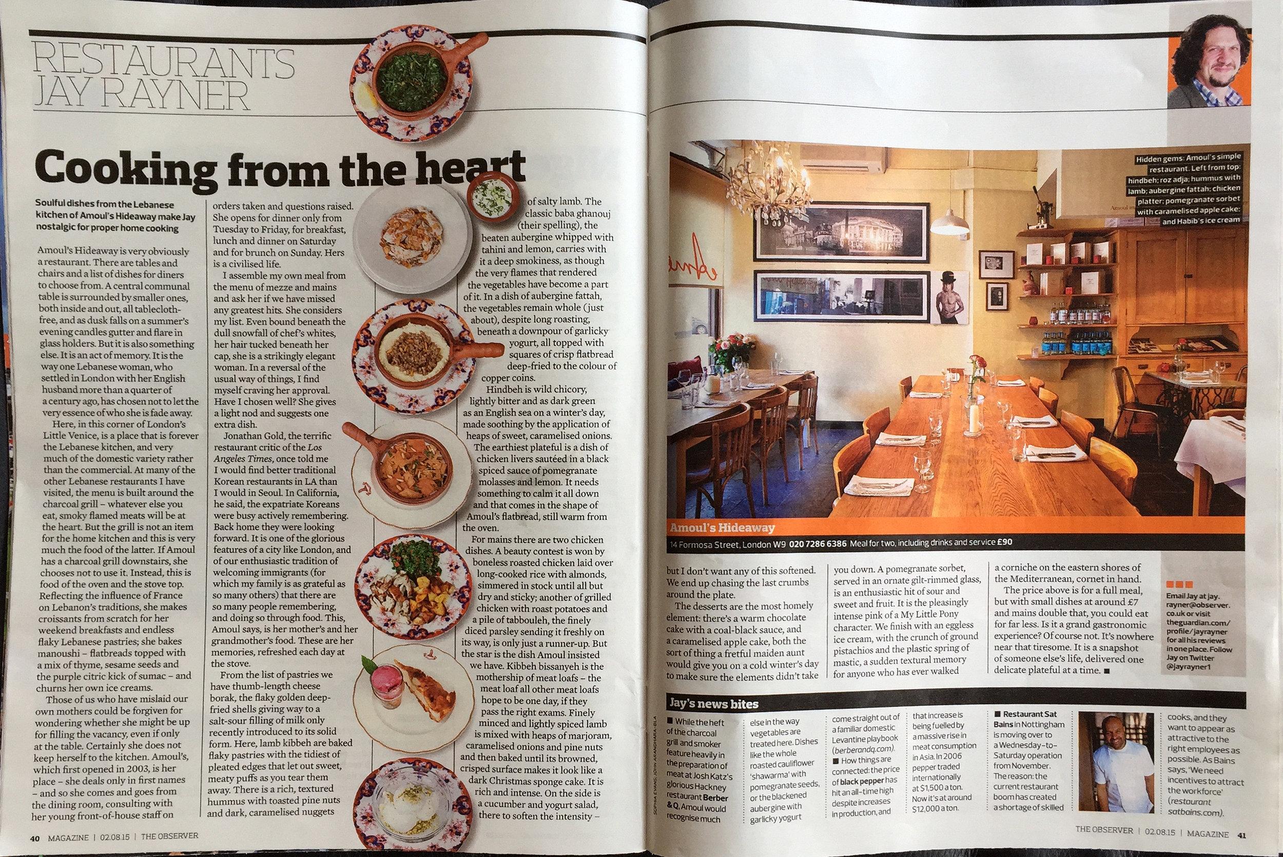 Jay Rayner, Observer Magazine, UK -