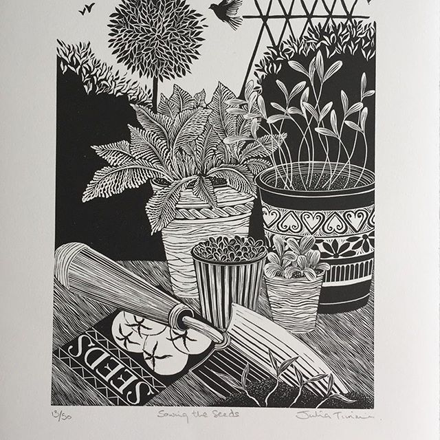 """Thanks to @im_printed for sharing my Linocut print """"Sowing the Seeds"""" and for organising the recent #imprinted_PrintX5 print exchange! It was great to be able to take part in this"""