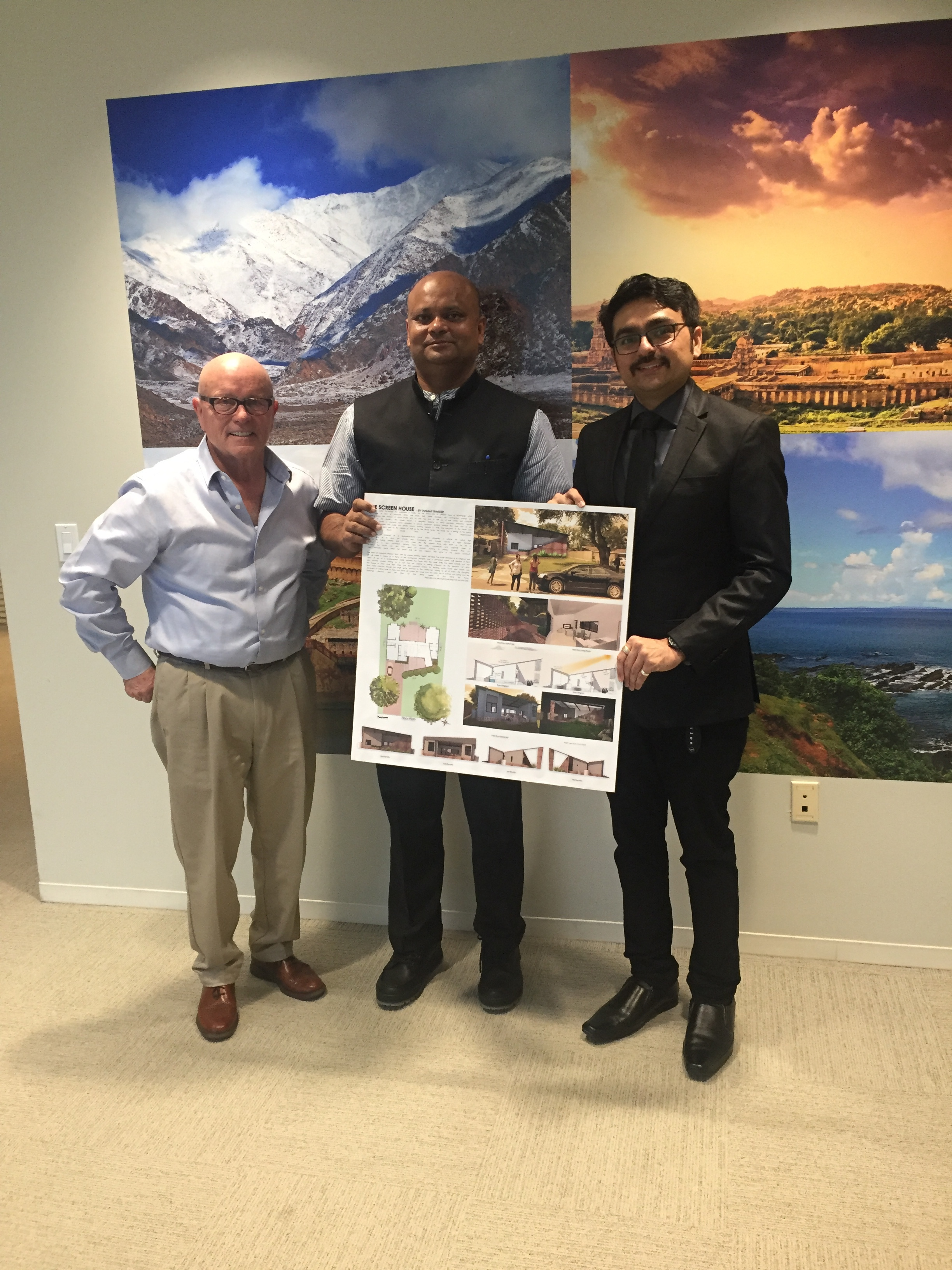 Michael Prentice (l) and Tanmay Thakker (r) with Consul General l Dr. Anupam Ray (c) during a visit to the Consulate General of India offices.