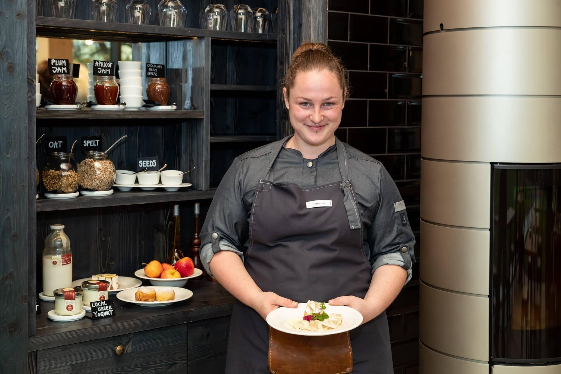 Master of food craft Barbara presents the awarded and certified breakfast Bohinj Blup. Photo: Mitja Sodja