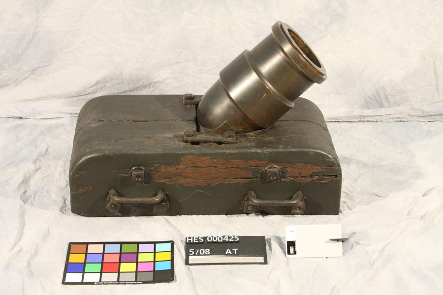 After: coehorn mortar after military artifact conservation treatment