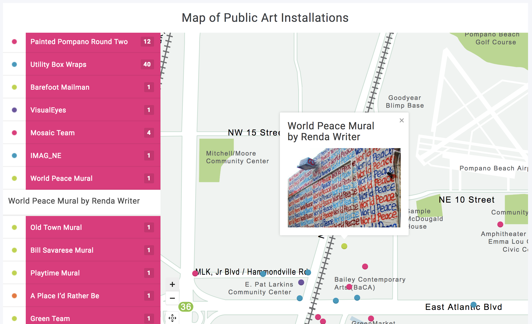Pompano Beach Arts  uses  Mapplic  for their map of public art.