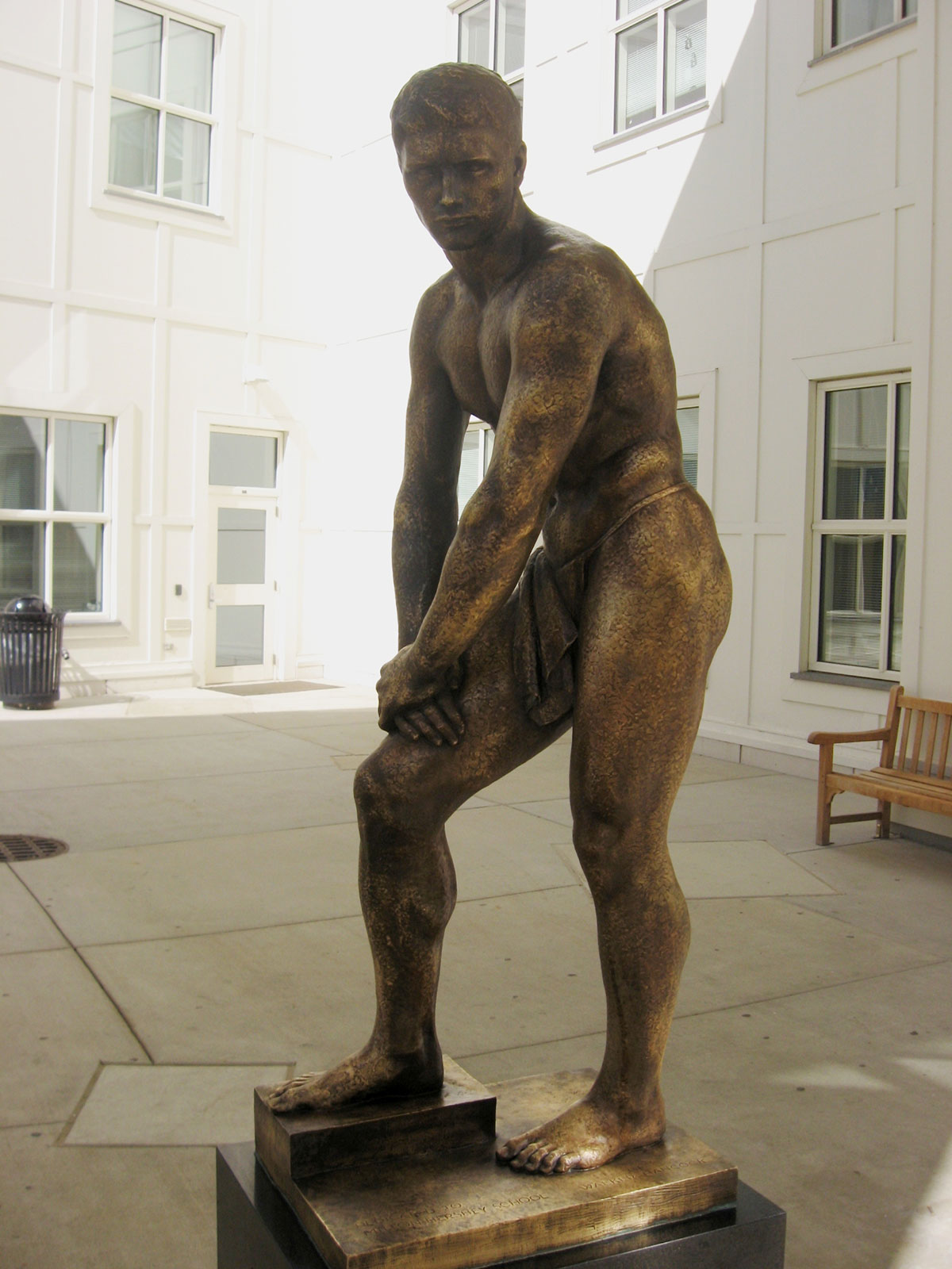 Original finish of bronze sculpture can be seen in crevices.