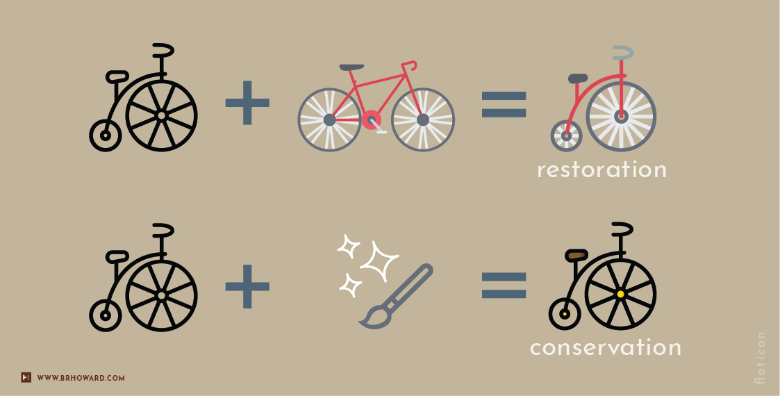 Infographic: The difference between conservation and restoration.