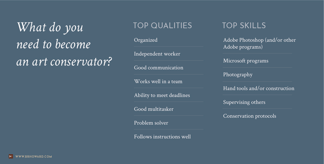 Read our list of the  top qualities  and  top skills  needed to become an art conservator.