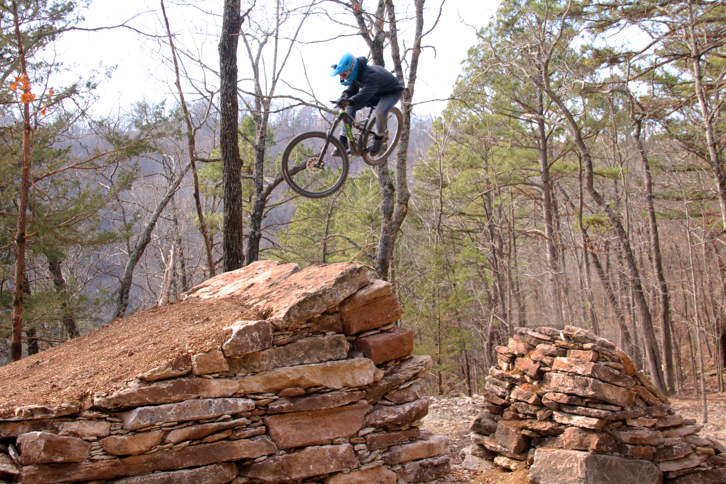 FLIGHT TIME: At Lake Leatherwood's Gravity Trails, constructed by Rock Solid Trail Contracting.