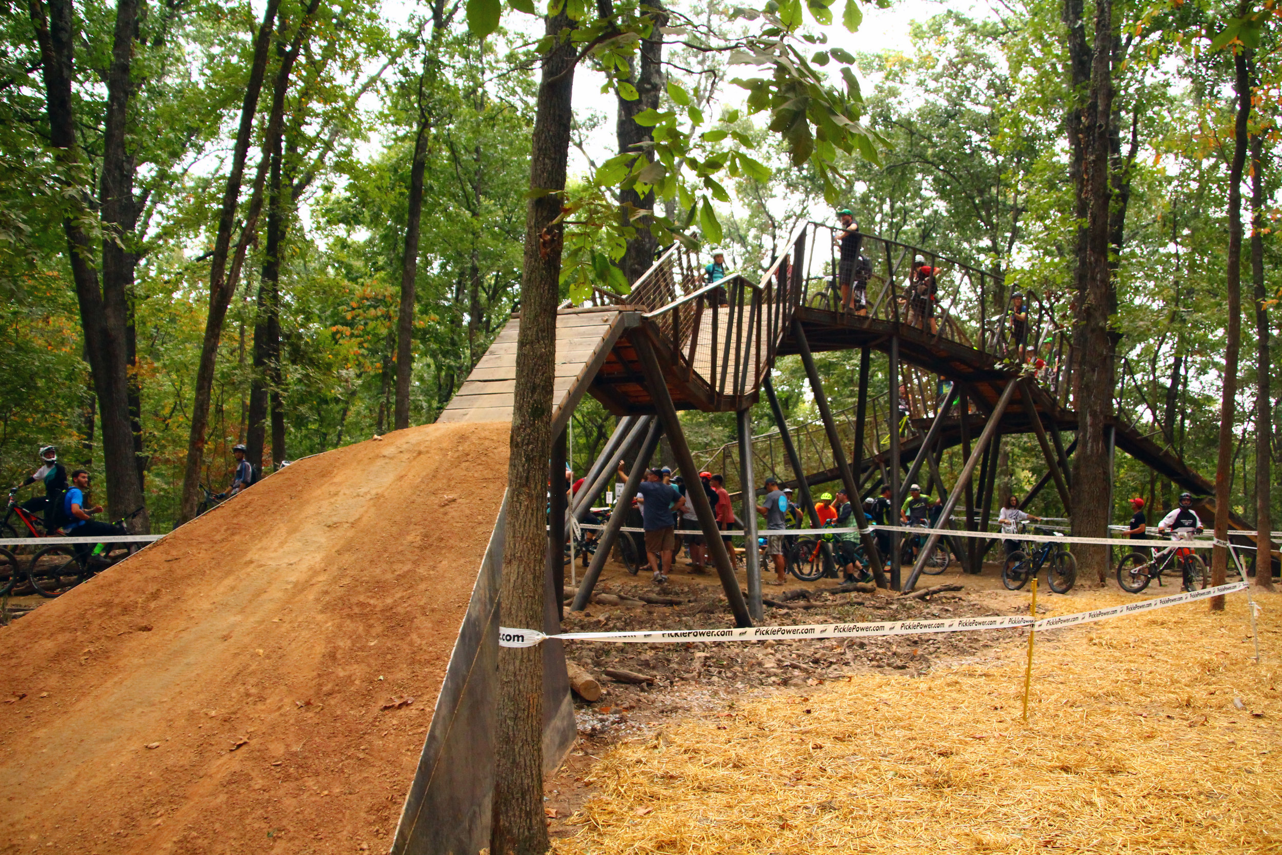 NOT FOR THE FAINT OF HEART AT COLER: Waiting to take off at the Peak One Hub, both built by Progressive Trail Design.