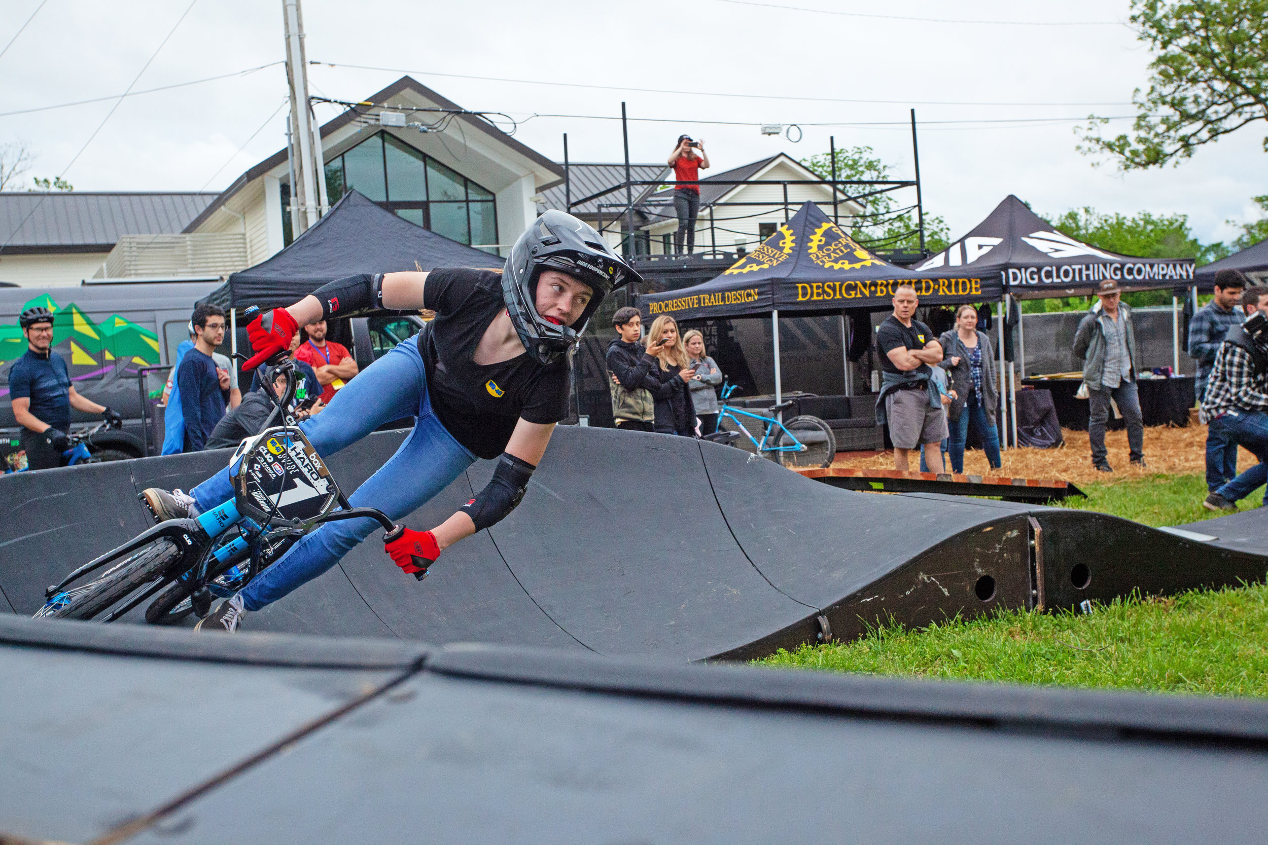 GOING FOR IT: Payton Ridenour, a 16-year-old BMX champion from Pennsylvania, rides a pump track at the Women Shred event held in Bentonville in May.
