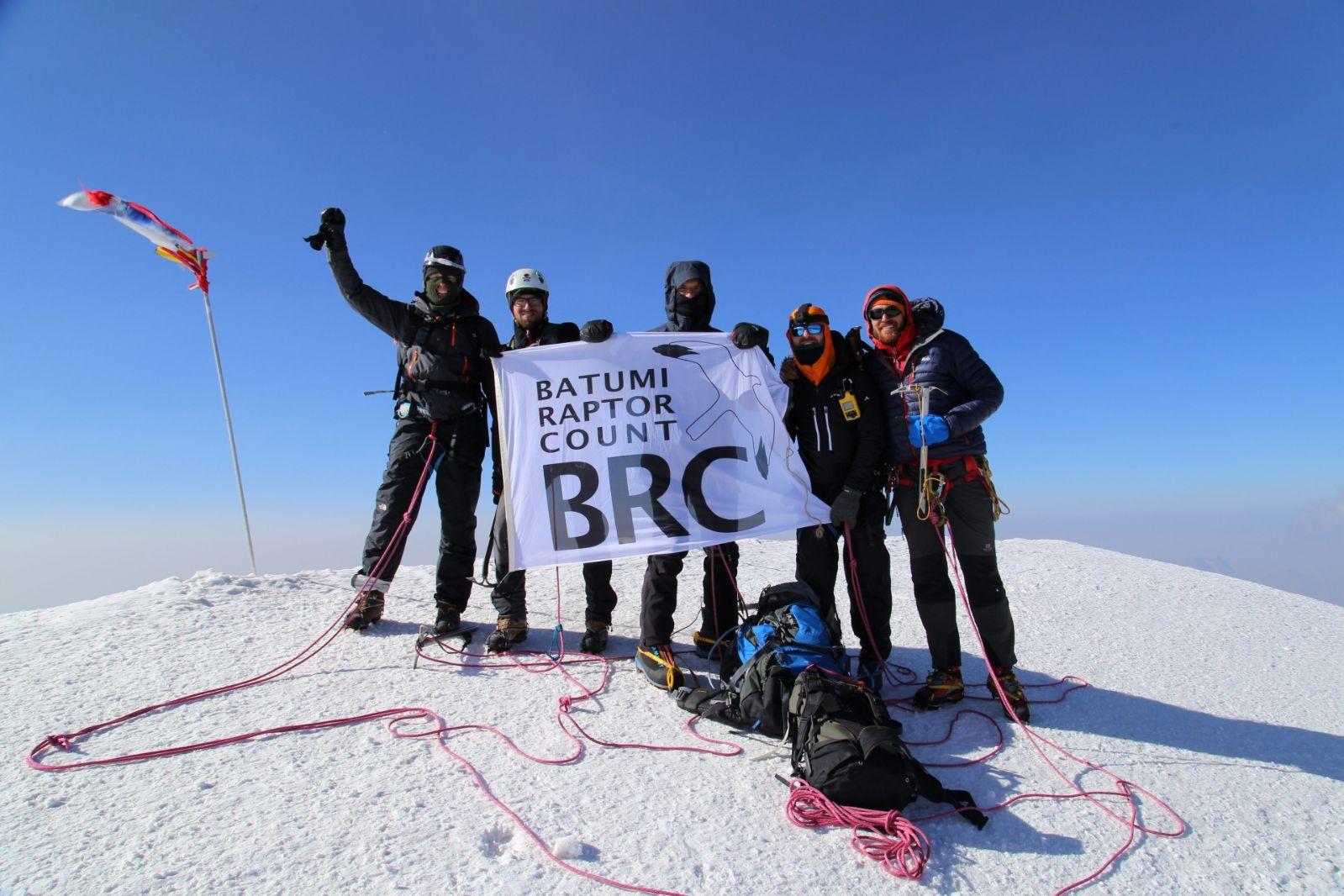 The BRC flag at the summit of Mount Kazbegi. Photo by Brecht Demeulenaer.