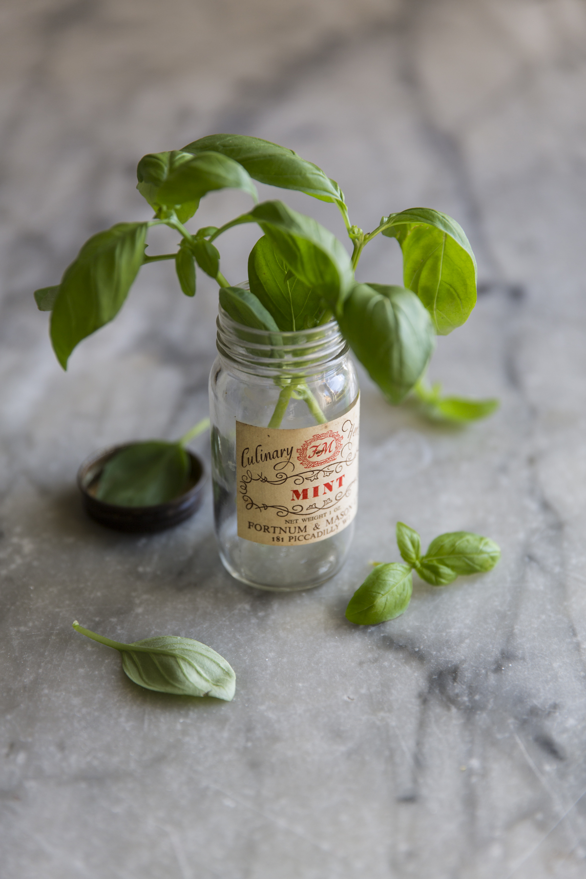 F2.8 Focus is on the jar label, note the basil in the lid and behind are completely out of focus as are the leaves above the label.