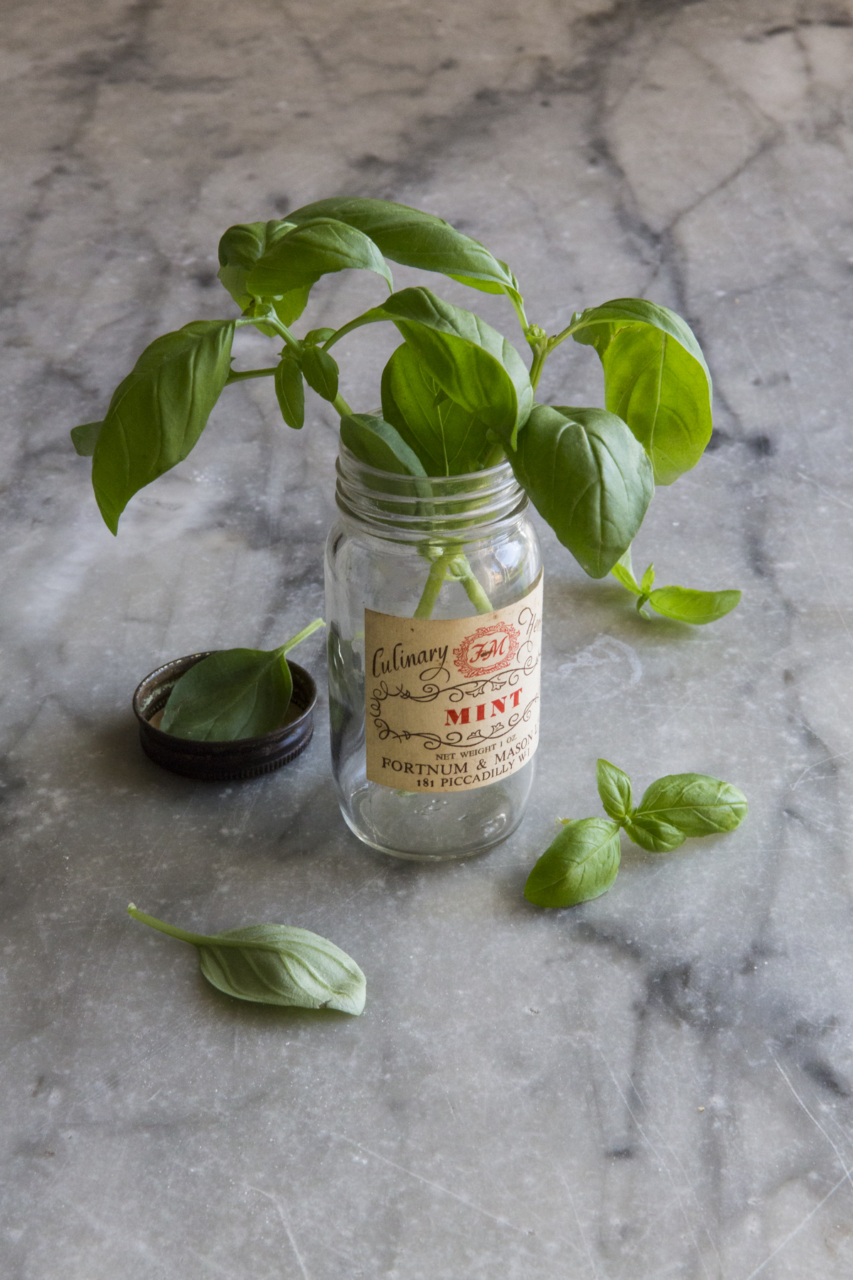 F22 Focus is on the jar label, pretty much everything is in focus, the basil in the lid, behind and above are all pretty sharp. Note the details of the marble it's all in focus and fighting with the subject.