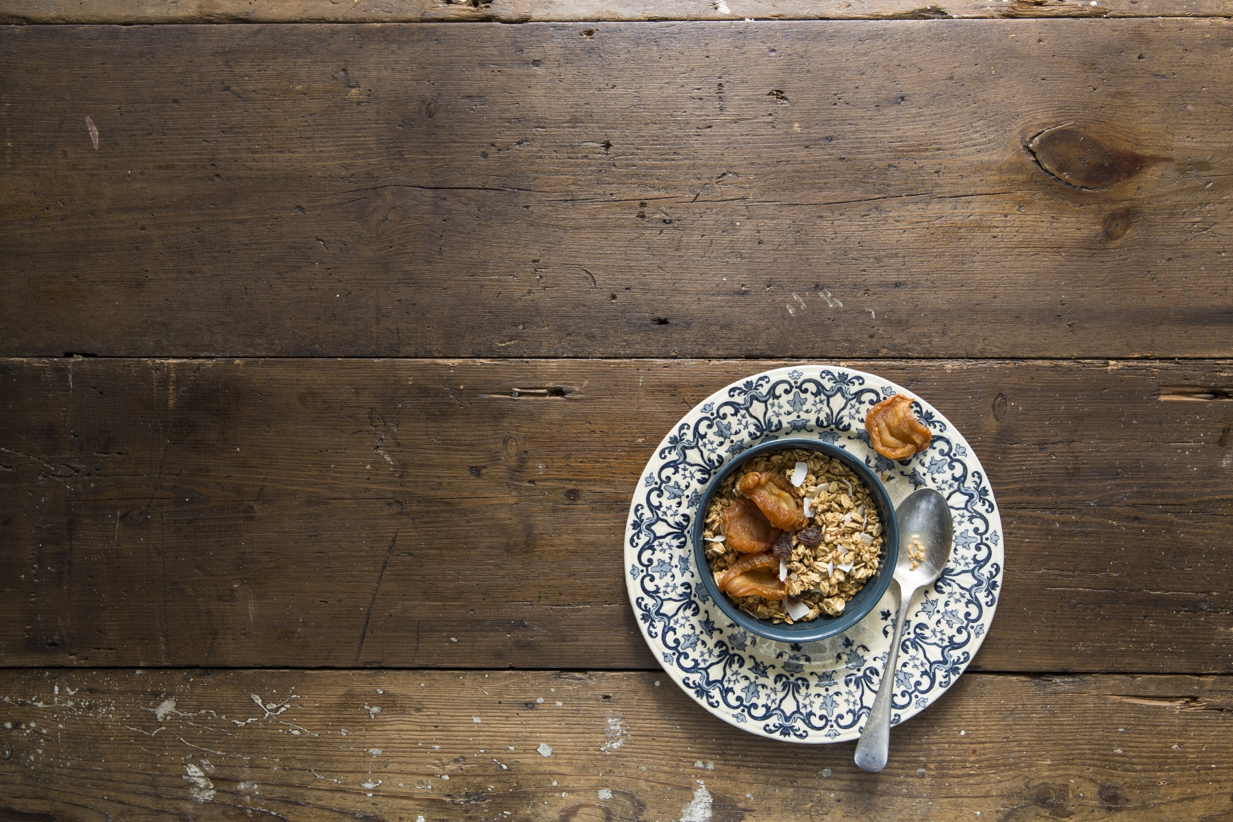 2. I like the layering of these two plates (see the prop image) and instinctively I've placed it on the rule of thirds bottom horizon line. I dressed the granola with dried pears. Love their shape and how they create interesting shadows.