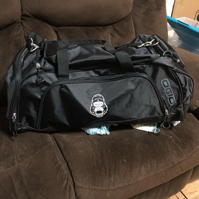 Giant gym bags available for pre order. These are very durable and heavy duty. Which is why they are $75. If you would like one of those can dm me as well. For all you gear whores I have a special bag that was made for you. It's pretty much a giant duffel bag kind of like a big hockey bag. I was able to comfortably fit two squat suits,two bench shirts, two sets of briefs, and two deadlift suits. Those are available for preorder for $55! So lots of cool custom stuff coming out that if they get popular enough I will stock them. Instead of hoarding all the cool stuff for my athletes I'm opening them up to everyone!