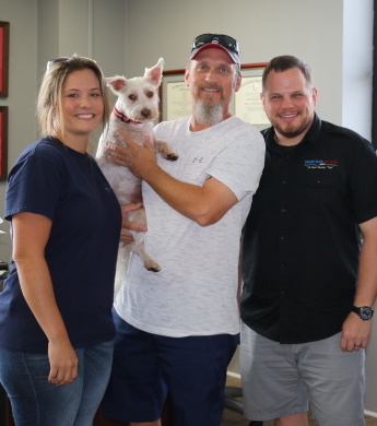"Our multi-unit franchisees for Florida, and their mascot ""Teddy"" with Shuckin' Shack Franchising CEO, Jonathan Weathington (right)."