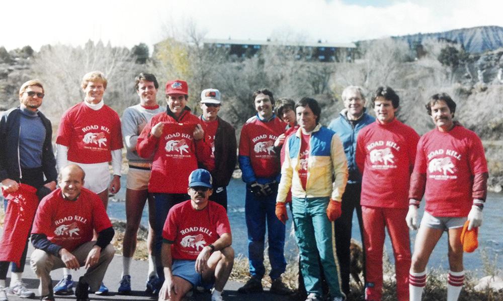 The Road Kill crew, one of the club's weekly running groups, in 1987. From Left: John Wolgamott, Jim Morehart, David Rice, Buck Arnold, Mike Elliott, Jesse Colbert, Grant Glover, John Lawson, Art Rohr, Dave West, Larry Malick, Dave Rakita and Tom Burnett.