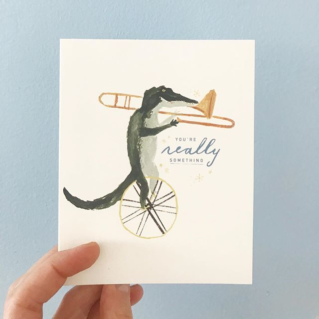 A few greeting cards (& a giveaway) coming soon! 🐊 🎺 @compendiumliveinspired