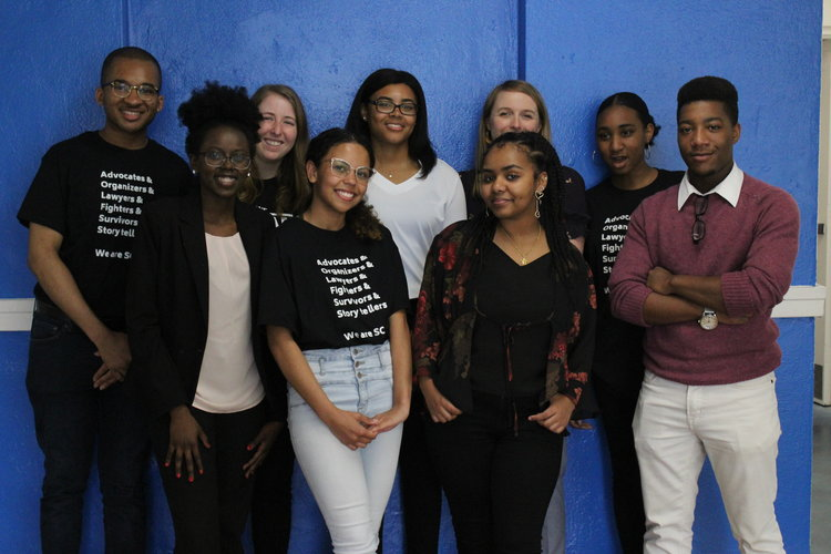 Youth Justice Project's Youth Steering Committee at their town hall on school safety