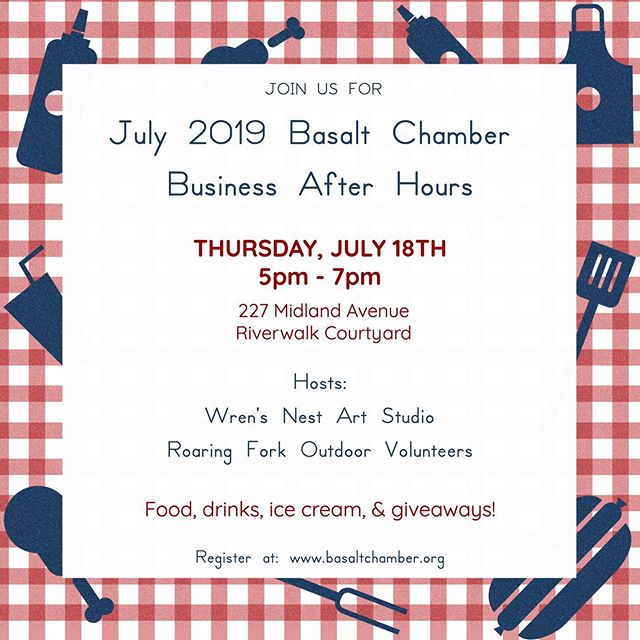Join us for a fun summer event next Thursday! 🙌🏻 We will have lots of giveaways, food, ice cream, and drinks! 🌭🍦🍹 Sign up on the Basalt Chamber website. @basaltchamber
