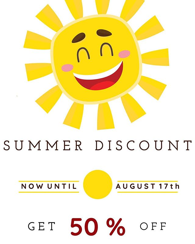 We've got great news! 🚨 Now until August 17th, you can get 50% off! ☀️ We are open each Friday and Saturday 11am-5pm, or call us for an appointment any other day during the week. We can't wait to see you! ☺️