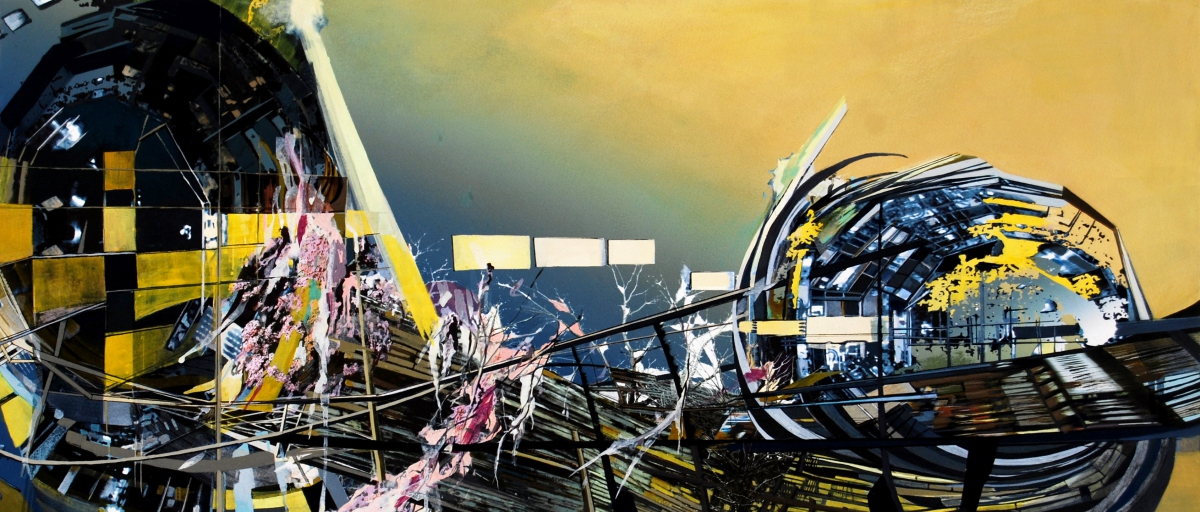 """Accelerator, gouache, pigmented print, mixed media on paper, 13 x 30"""""""