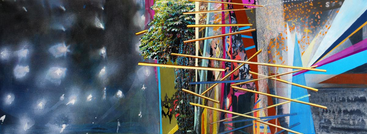 """Flare II, gouache, pigmented print, mixed media on paper, 13 x 30"""""""
