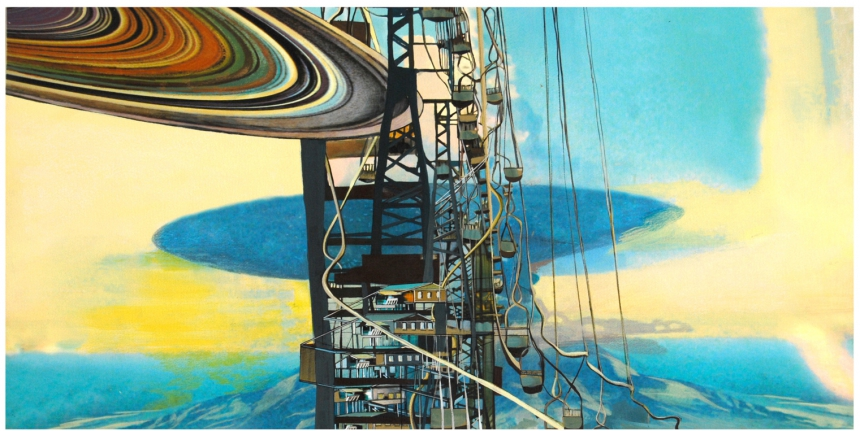 """Lift, gouache, pigmented print, mixed media on paper, 13 x 30"""""""