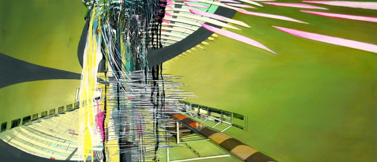 """Station, gouache, pigmented print, mixed media on paper, 13 x 30"""""""