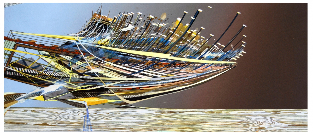 """Ark, gouache, pigmented print, mixed media on paper, 13 x 30"""""""